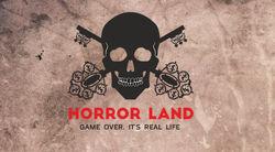 Логотип Horror Land - огранизатора квестов в реальности, живых квестов - вырбраться из комнаты в городе Москва