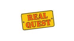 Логотип Real Quest - огранизатора квестов в реальности, живых квестов - вырбраться из комнаты в городе Москва